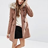 ASOS Wool Blend Faux Fur Hooded Duffle Coat ($105)