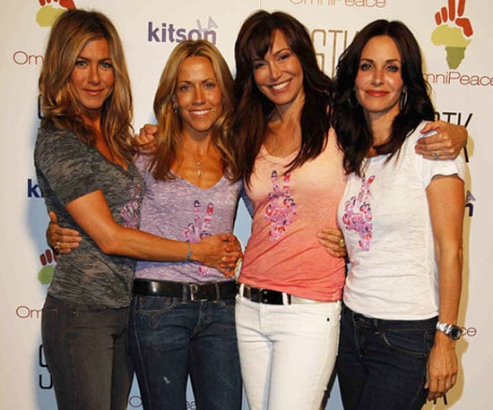 "Photo Slide of Jennifer Aniston, Sheryl Crow, Courteney Cox and OmniPeace Founder Mary Fanaro at a ""Stamp Out Violence"" Event"
