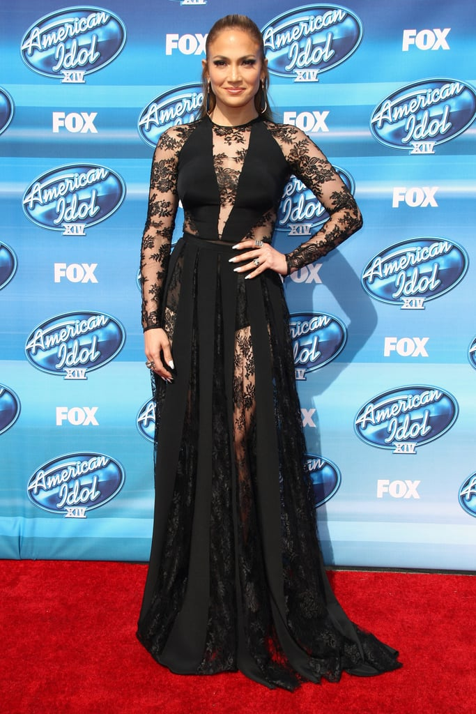 J Lo chose a Zuhair Murad black bodysuit and complementing evening ...