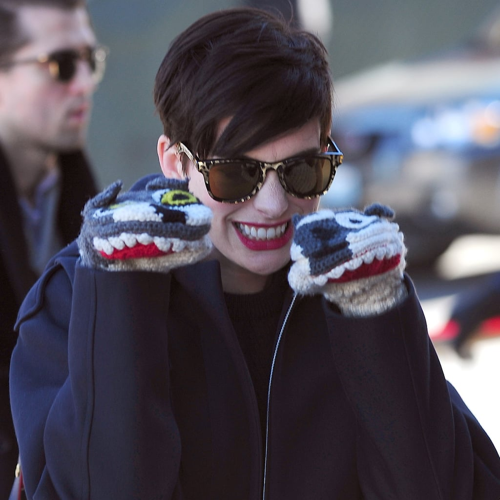 Anne Hathaway Animal Mittens at Sundance 2014