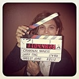 Matthew Gray Gubler played peekaboo on the set of Criminal Minds.  Source: Instagram user cbsphoto