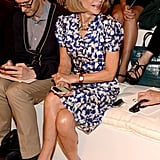 Anna Wintour took her polished prints to the front row for Ralph Lauren.