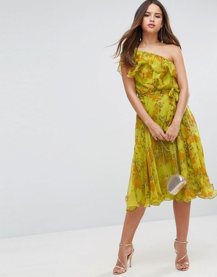 Asos One Shoulder Ruffle Floral Midi Dress