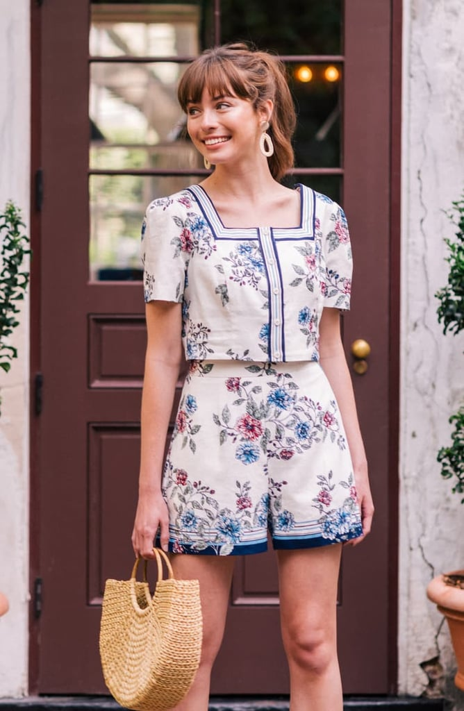 Gal Meets Glam Collection June Floral Print Two-Piece Linen Blend Romper