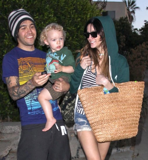Pete, Ashlee And Bronx Leaving A Party At A Friends House