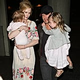 Nicole Kidman and Keith Urban Airport Pictures With Daughters Sunday Rose and Faith Margaret