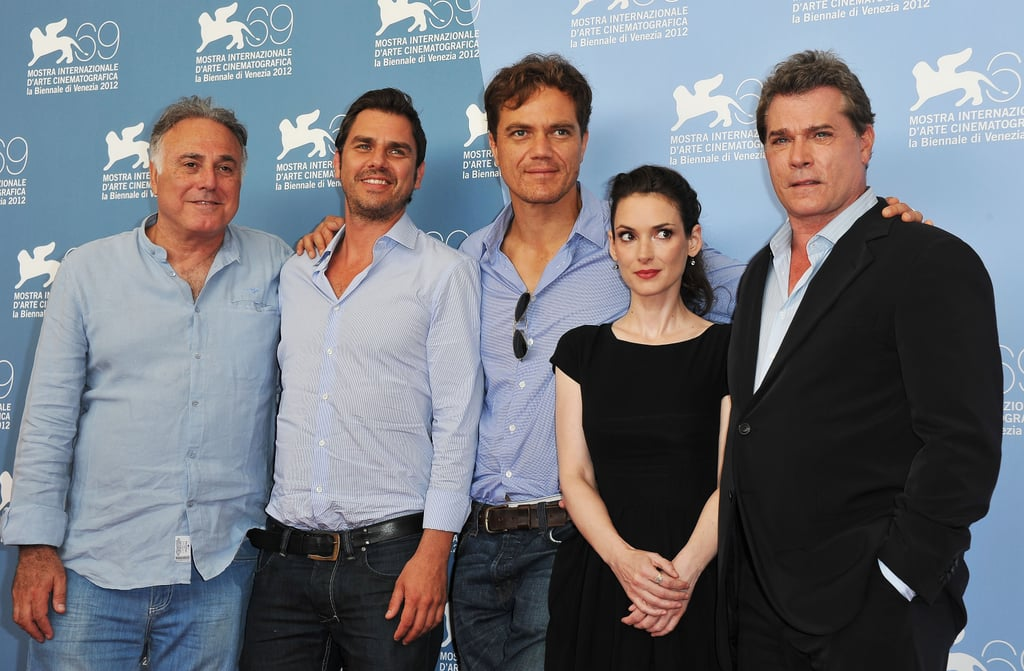 Winona Ryder posed with the fellows of Ice Man in Venice.
