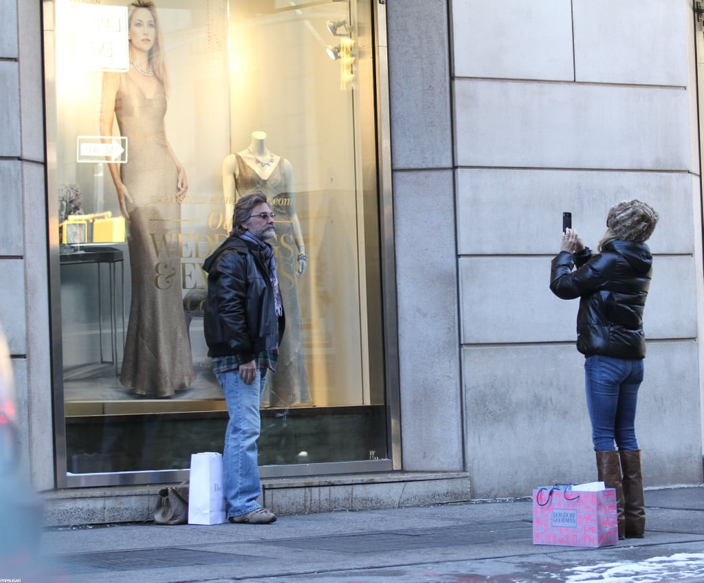 Goldie Hawn had Kurt Russell pose in front of Kate Hudson's Ann Taylor poster in NYC. Photos courtesy 310Pix