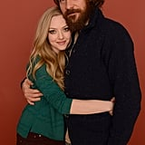 Amanda Seyfried hugged Peter Sarsgaard during a portrait session on Wednesday for Lovelace at Sundance.