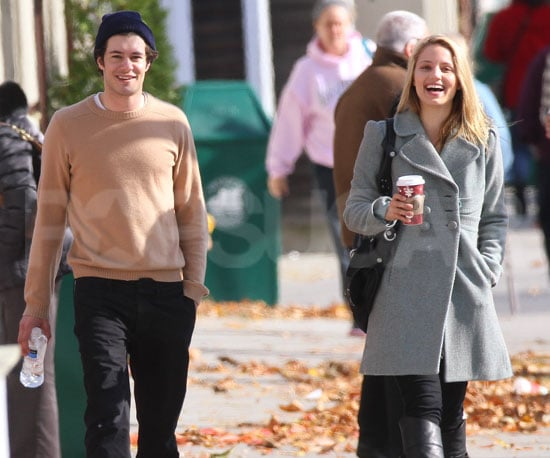 Slide Photo of Adam Brody and Dianna Agron Walking in NYC