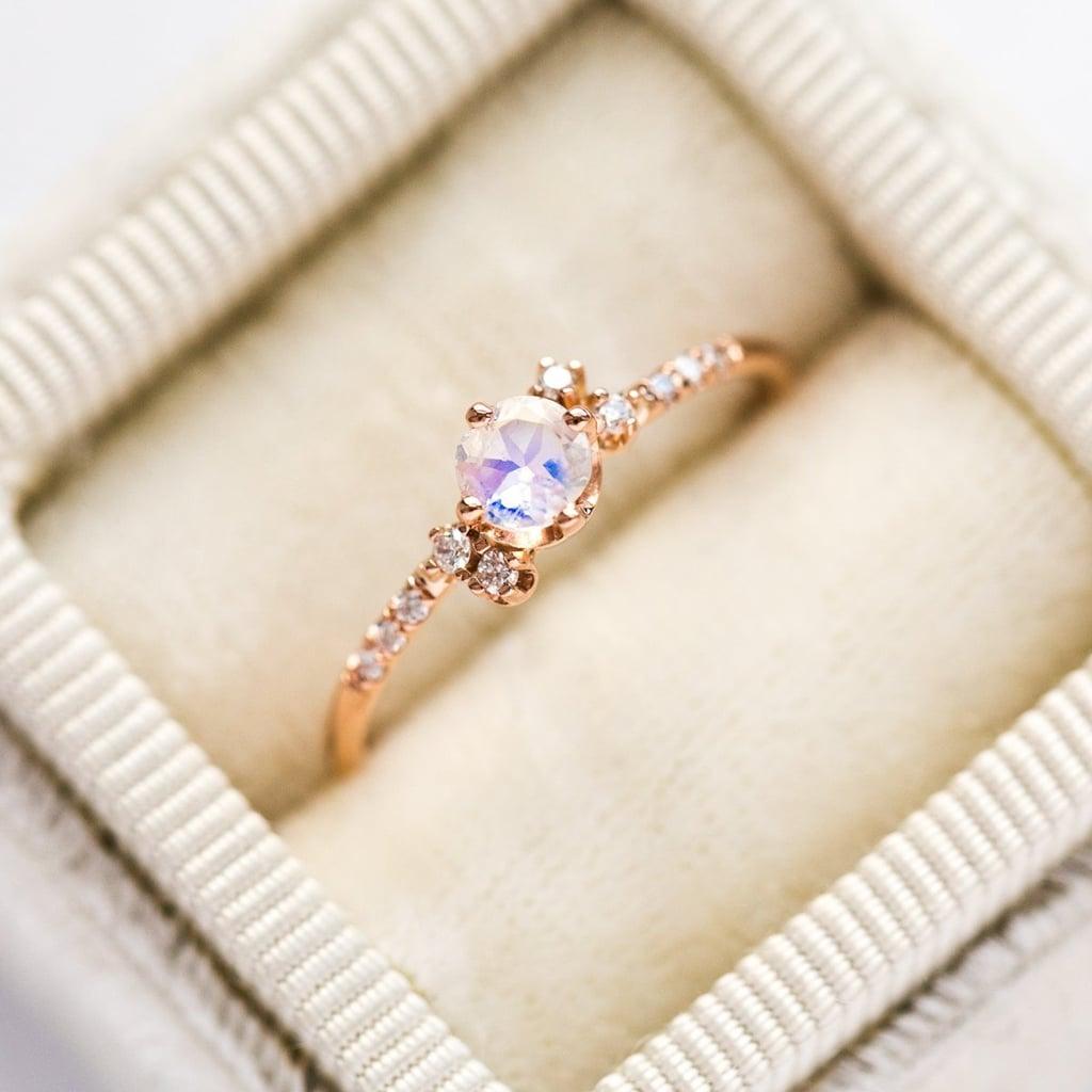 14k Diamond Moonstone Cluster Ring