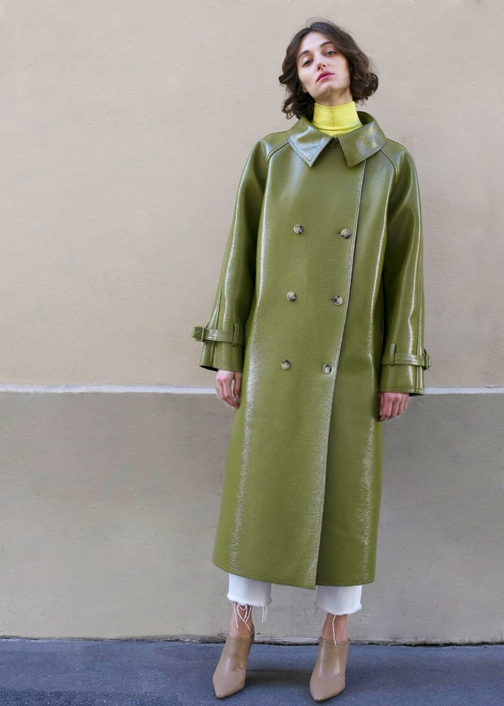 Frankie Linda Olive Patent Trench Coat