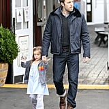 Seraphina Affleck and her dad Ben Affleck grabbed some breakfast at the Brentwood Country Mart.
