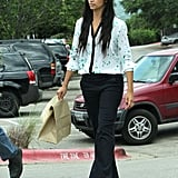 Camila Alves tome home leftovers after lunch with Matthew McConaughey and son Levi on Easter Sunday in Texas.