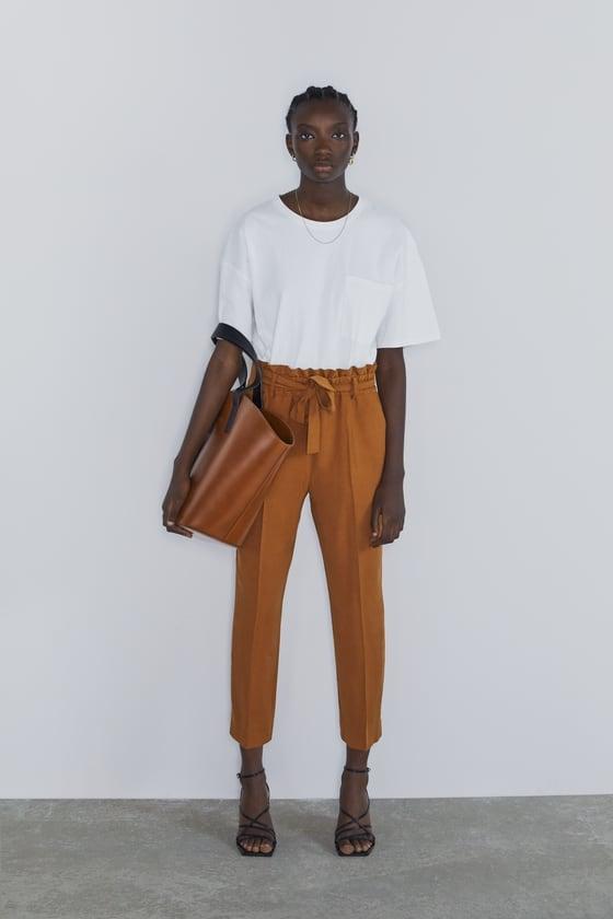 Zara Belted Paper Bag Pants
