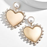 BaubleBar Amalia Pearl Heart Drop Earrings