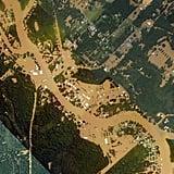 Aerial footage of the flooding above Port Vincent, LA.