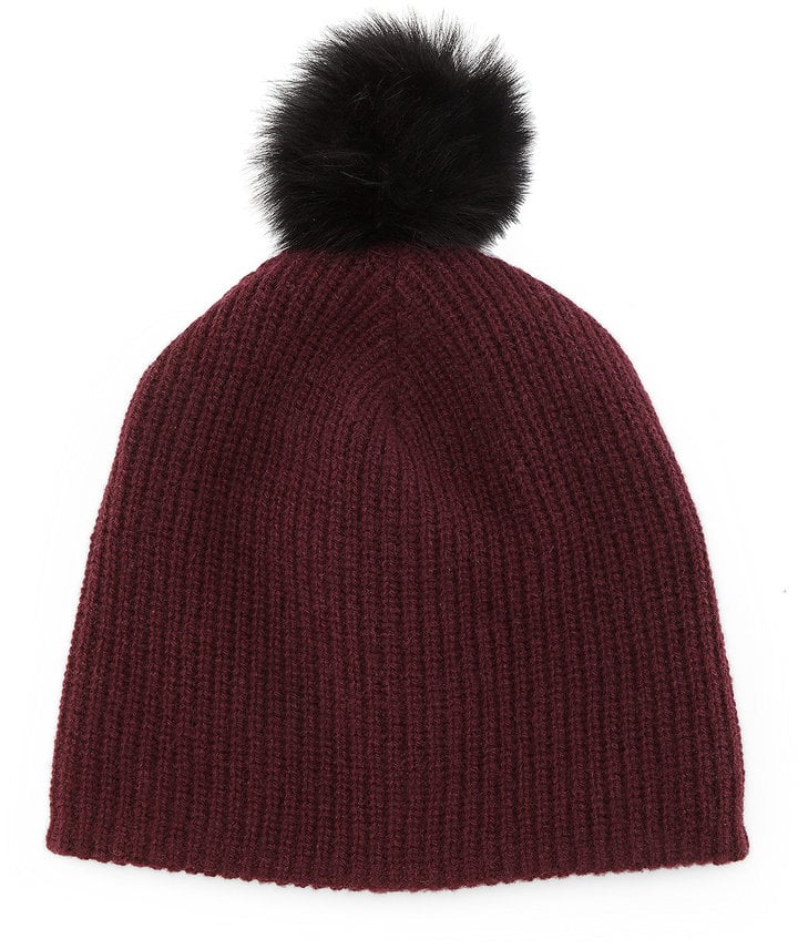 Rag & Bone R Cynthia Knit Beanie With Shearling Fur Pompom ($175)