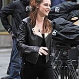 Kristen Stewart waved to fans in NYC while promoting Breaking DawnPart 2.