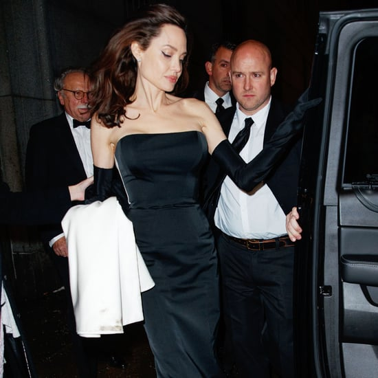 Angelina Jolie Black Dress With Gloves