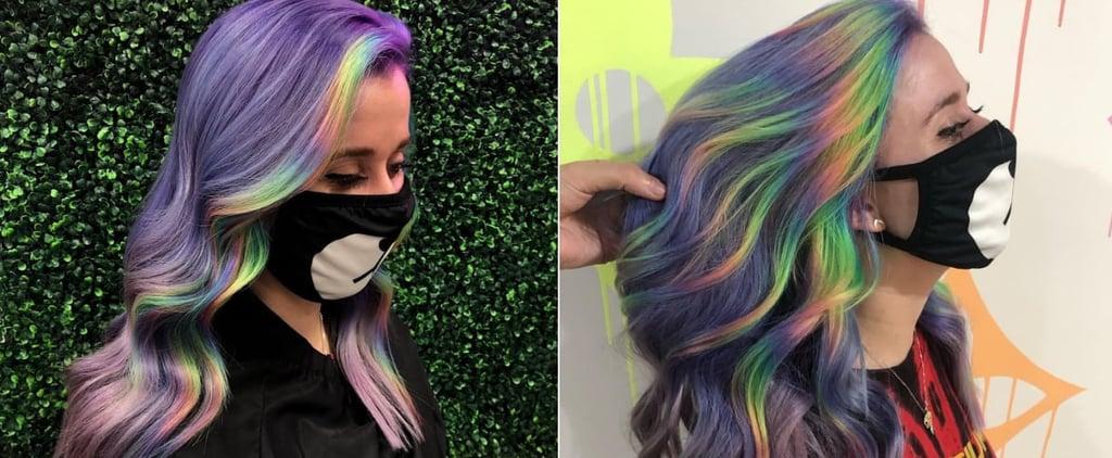 Rainbow Money Piece Hair Colour Trend 2021