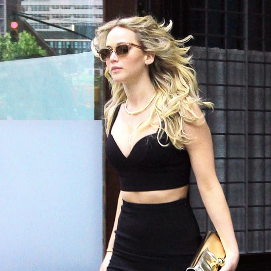 Jennifer Lawrence's Black Crop Top and Skirt Set