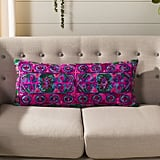 Embroidered Velvet Lumbar Pillow