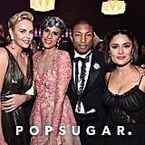 Pictured: Charlize Theron, Mimi Valdes, Pharrell, and Salma Hayek