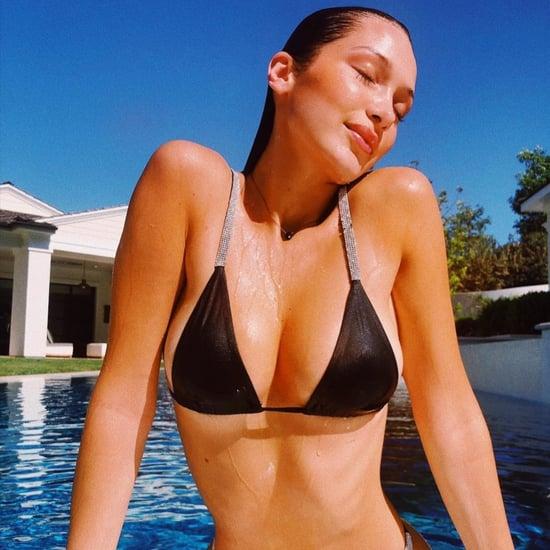 Bella Hadid Black Bikini With Diamond Straps