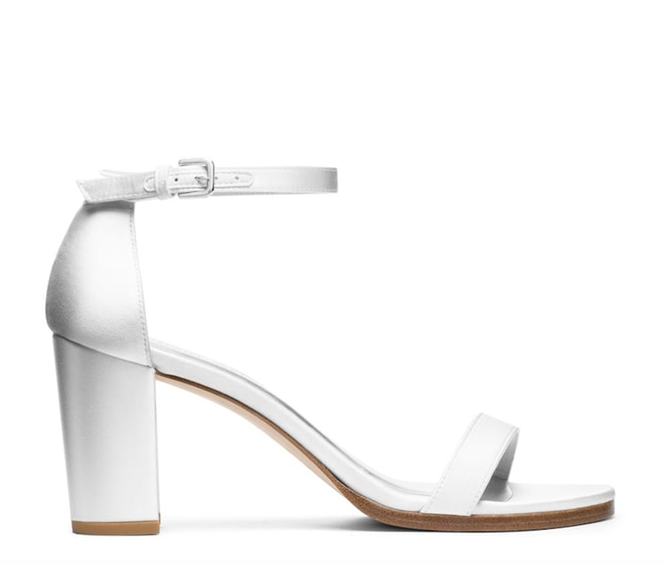 Nearlynude Sandal in White Satin ($398)
