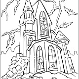 Get the coloring page: haunted house