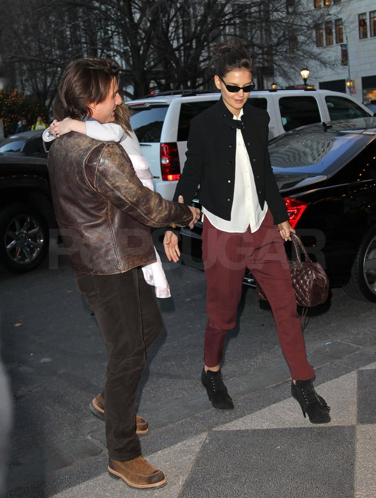 Katie Holmes Greets 32 With Tom, Suri, and a Pair of Red Pants