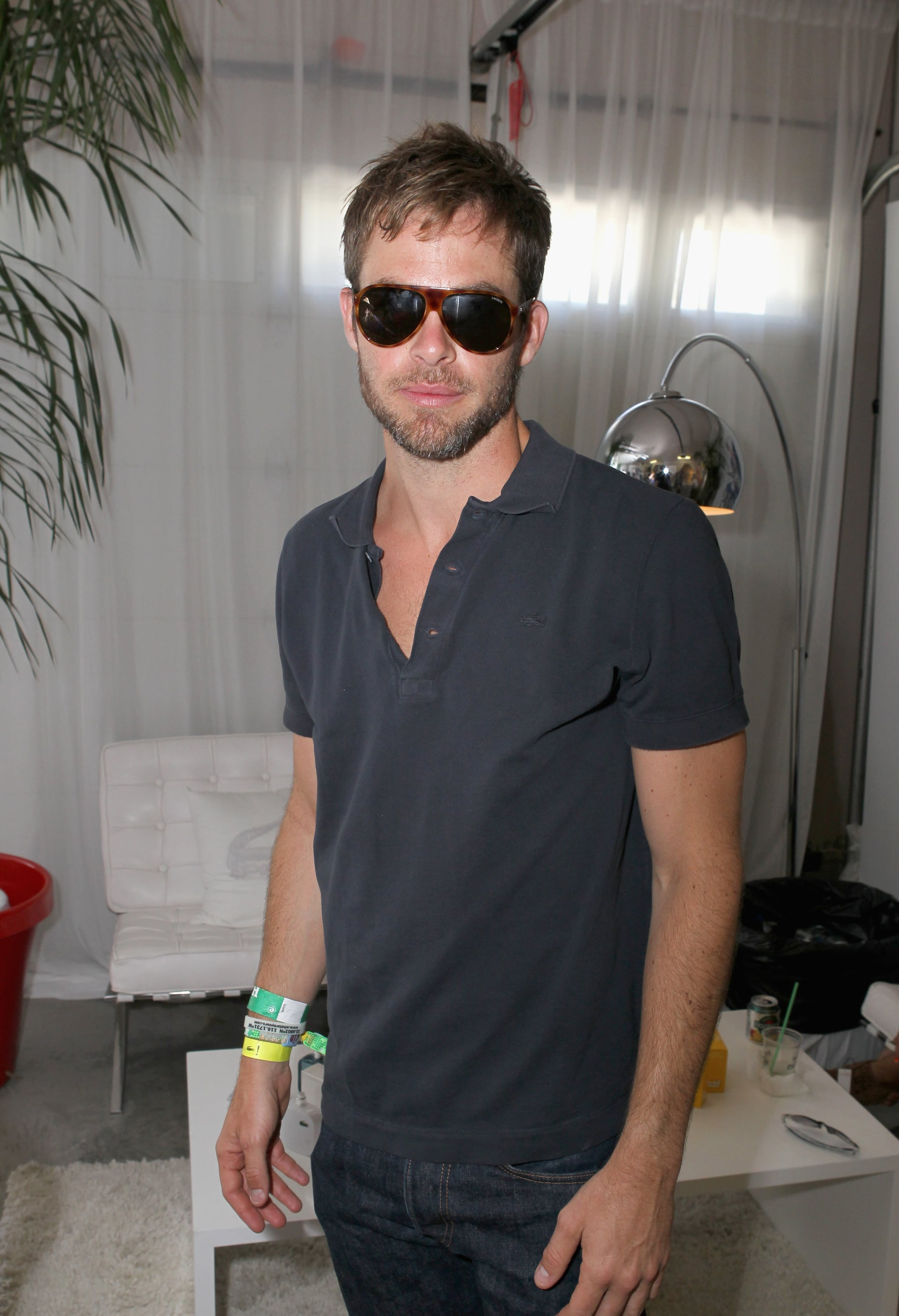 Chris Pine checked out Lacoste L!ve Desert Pool Party. in 2013.