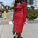 Statement-red lace and studded heels make ladylike a little more interesting.
