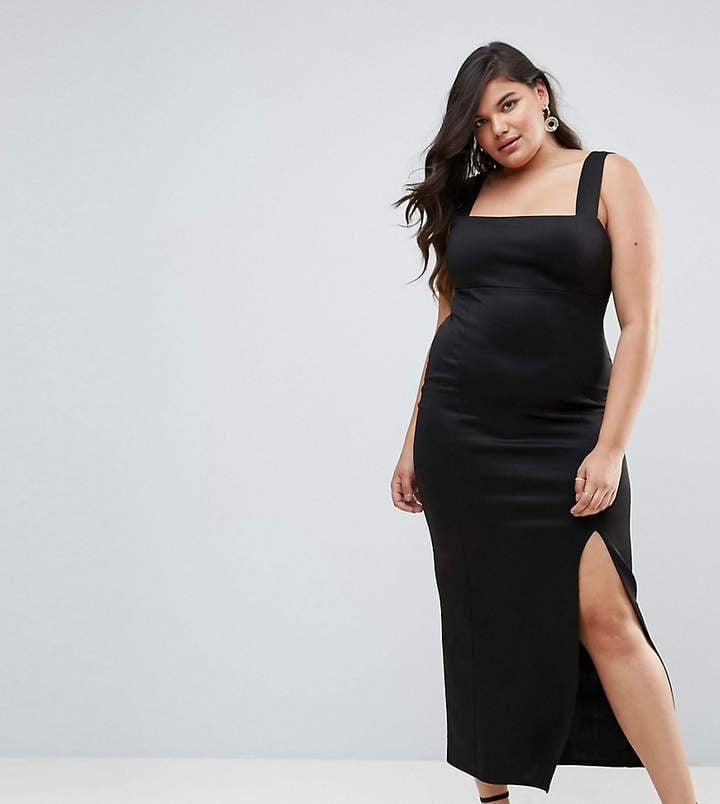 e45450d7f92 Asos Square Neck Scuba Maxi Dress With Thigh Split
