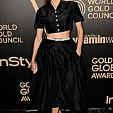 Diane Kruger again proved her fashion-forward status in a Rochas crop top and full skirt, which she accessorized with black-and-white Chanel booties. This daring ensemble — spotted at the Hollywood Foreign Press and InStyle 2013 Golden Globe Awards season party — gets our vote for a cutting-edge kind of sexy.