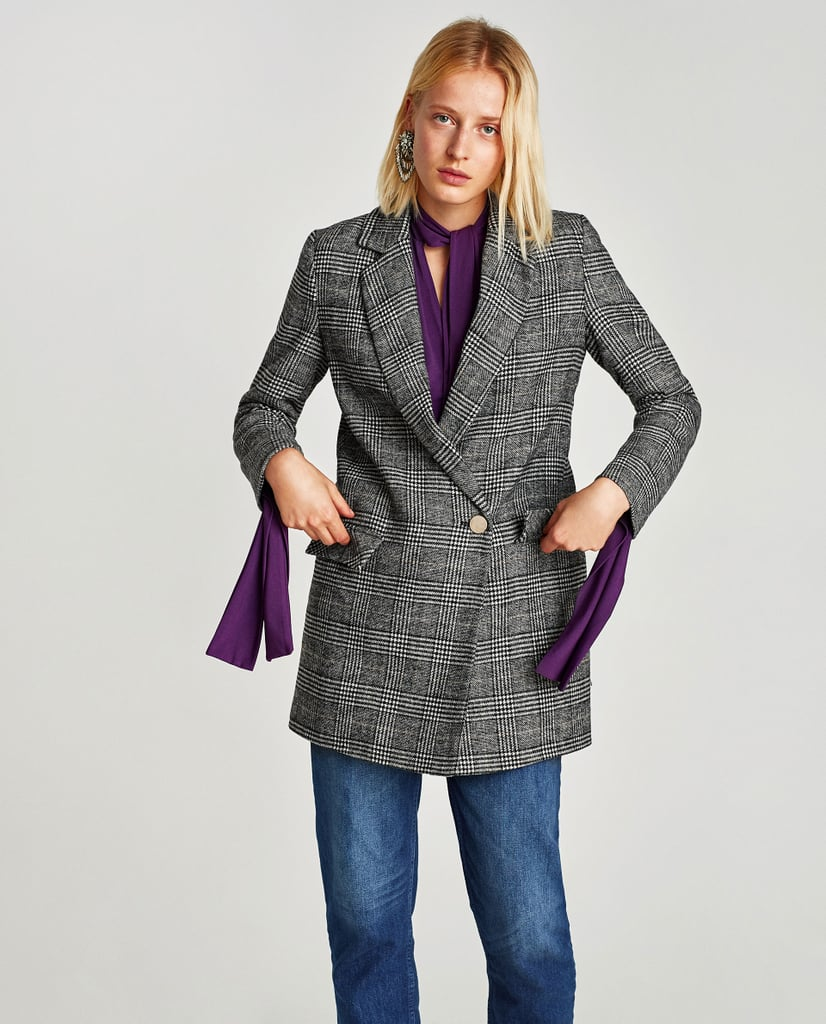 Blazers Zara España: Gray Plaid Blazer For Fall 2017