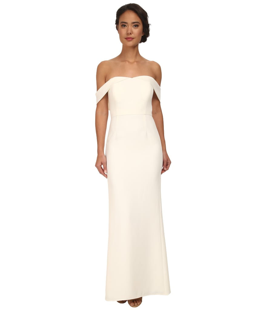Calvin Klein Column Gown ($208) | Wedding Dresses With Sleeves ...