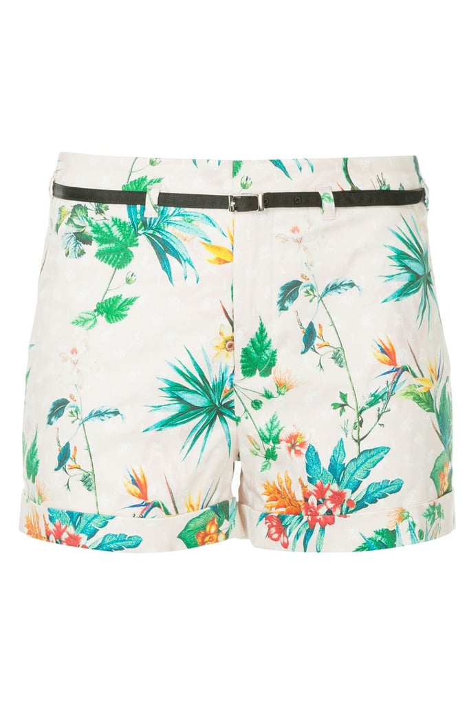 Loveless Tropical-Print Belted Shorts