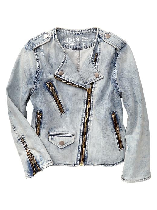 Gap 1969 collarless bleached denim biker jacket ($90)
