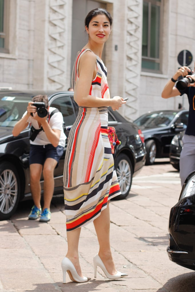 Caroline Issa's breezy dress could go right to the boardroom with a slick white blazer.