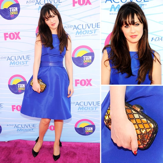 Pictures of New Girl star Zooey Deschanel in Monique Lhuillier blue dress at the 2012 Teen Choice Awards: Rate or Hate?