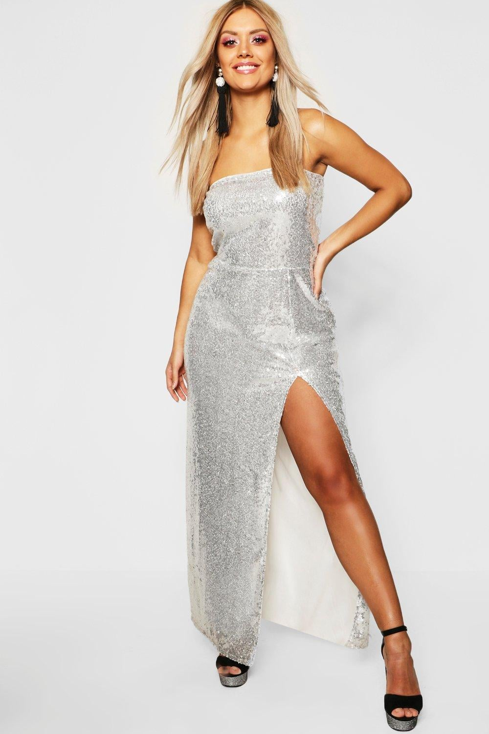 release info on exclusive shoes presenting Boohoo Gemma Collins Bandeau Sequin Maxi Dress | Kourtney ...