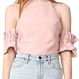 """I thought I'd be sick of off-the-shoulder tops by now, but I was sorely mistaken. This blush-hued C/Meo Collective Double Take Top ($145) will look great whether I pair it with jeans or a denim skirt."" — NR"