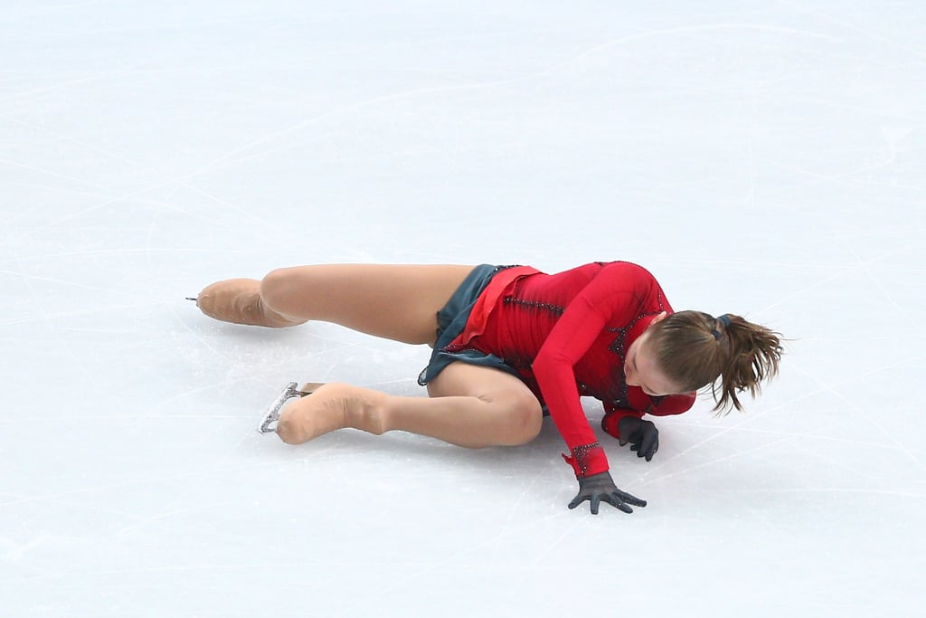 Despite the loud support of the crowd, 15-year-old Russian Julia Lipnitskaia went down.