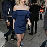 An Off-the-Shoulder Mini Dress and Pointed-Toe Flats in London in December 2017