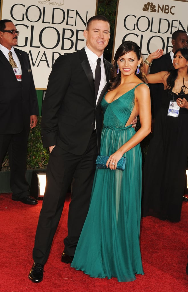 Channing Tatum and Jenna Dewan posed together on the red carpet at the Golden Globes in LA tonight. It's the couple's first time at the show, where Channing will be presenting. He looked dapper in a tux and tie, while Jenna chose a bright dress by Maria Lucia Hohan. There are so many glamorous gowns to see, so make sure to vote on all of Bella and Fab's beauty and fashion polls!