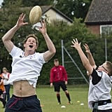 He participated in a quick game of rugby to support his father's charity, The Prince Trust, in May 2014.