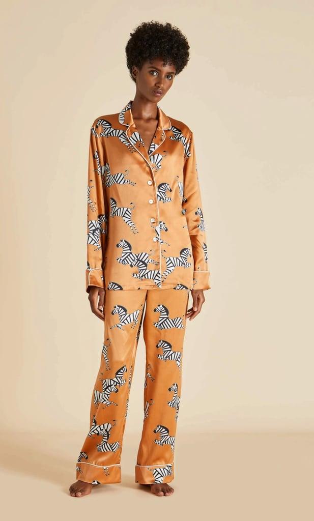 Olivia von Halle Copper Zebra Printed Luxury Silk Pyjama Set