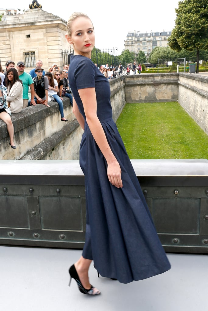 Leelee Sobieski headed to the Christian Dior Paris Haute Couture show on Monday.
